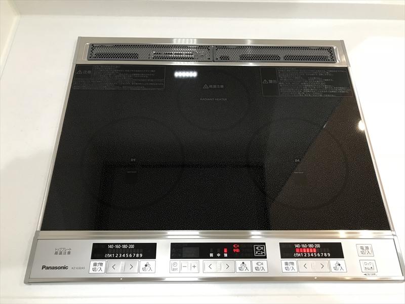 オール電化の住まいですので、コンロも当然IH。Panasonic製。火がでないので安全で、炎が無いので調理中も暑くない。