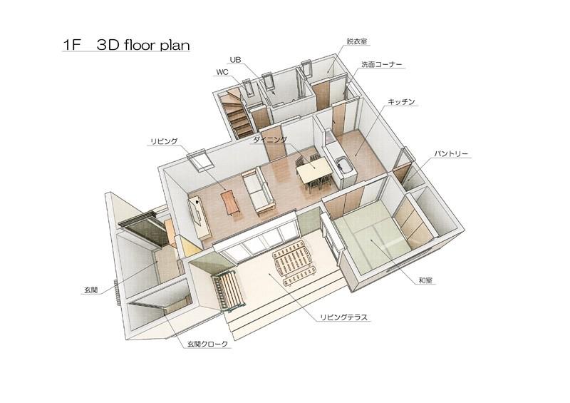 13号地モデルハウス:1F間取り図