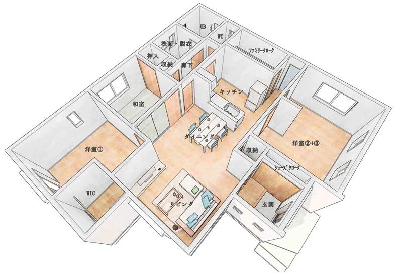 3号地モデルハウス:間取り図