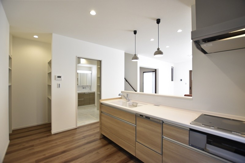 熊本県熊本市北区兎谷1丁目 新築一戸建て 5号地モデルハウス・キッチン