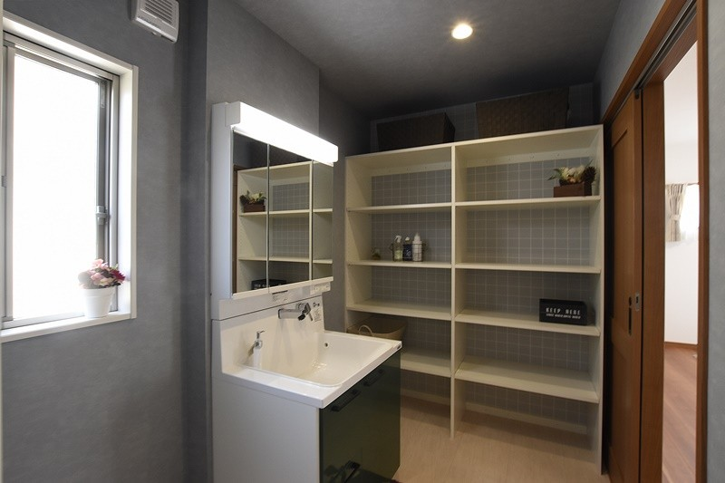 益城町宮園 新築一戸建て 1号地モデルハウス・スッキリ片付く洗面脱衣室