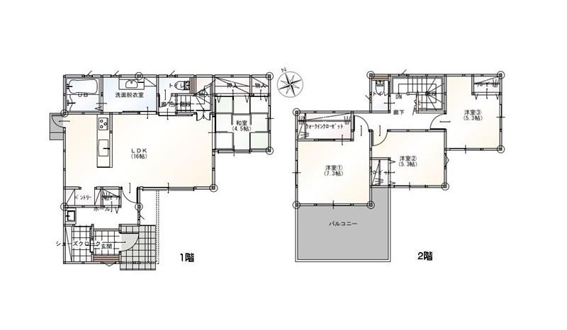 2号地モデルハウス間取図