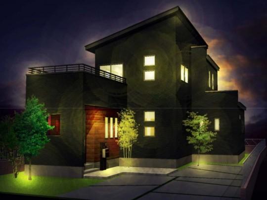 大津町森 新築一戸建て 5号地モデルハウス夜景イメージパース
