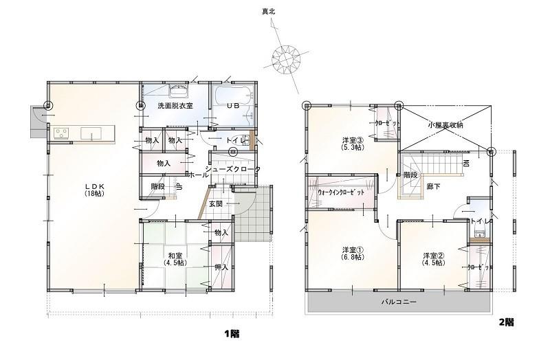 合志市合生 新築一戸建て 9号地モデルハウス間取り図