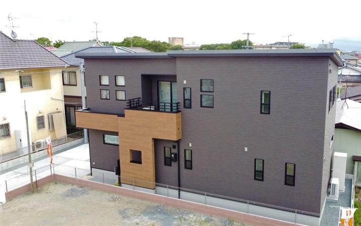 熊本市北区楠 新築一戸建て トレステージ楠小学校前4号地モデルハウス・外観(ドローンにて撮影)