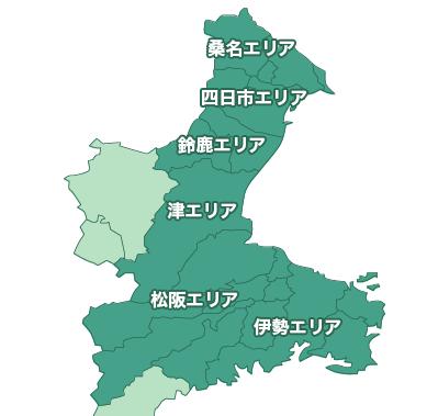 三重県内(四日市市,桑名,鈴鹿,松阪などの一戸建て、新築、新築一戸建て、分譲住宅、建売)のマップ