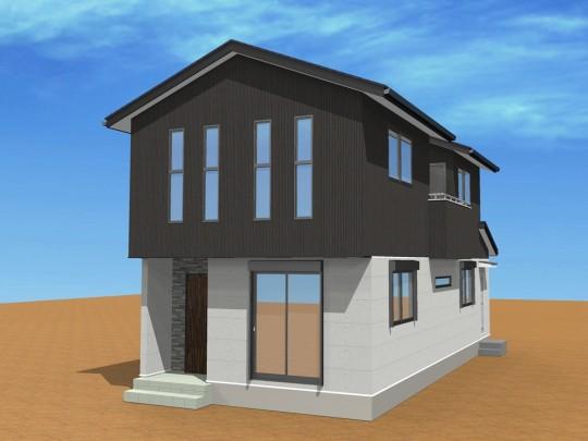 1号地外観イメージパース:スタイリッシュな黒のストライプ×デザイン性の高いコンクリートの打ちっ放し調は、シンプルながらもインパクトのある外観。