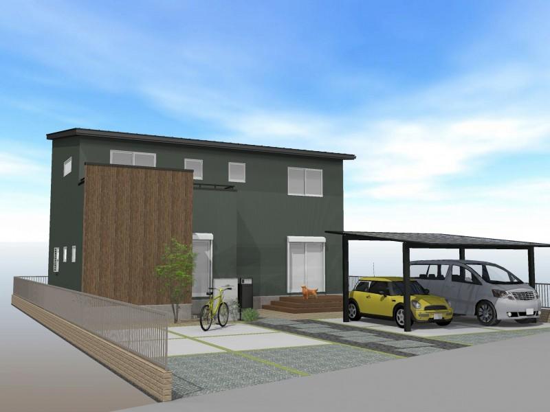 建設プラン例1 緑色のオシャレな外観がポイントの一棟。