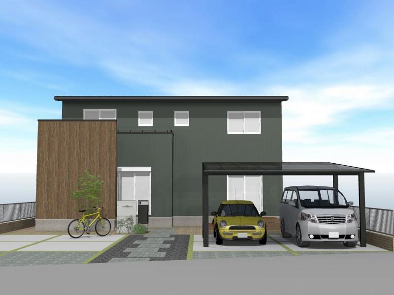 外観プラン例2 80坪を超える土地ならば、駐車場5台分も実現可能!