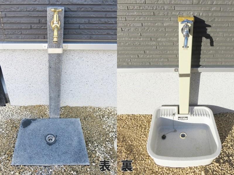 1号地立水栓:家の表にも裏にも立水栓があるので、車を洗車するのもお庭でガーデニングやプールをするのも楽々です。表は、黒×ゴールドのかっこいいデザインになっています。