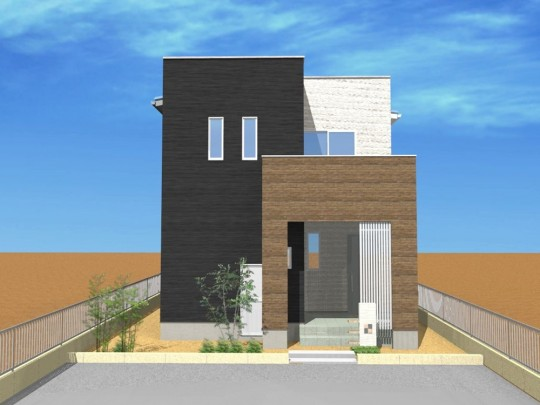 1号地外観パース:建物正面から見ると、モノクロ×木目の立体的でシンプルモダンな外観。