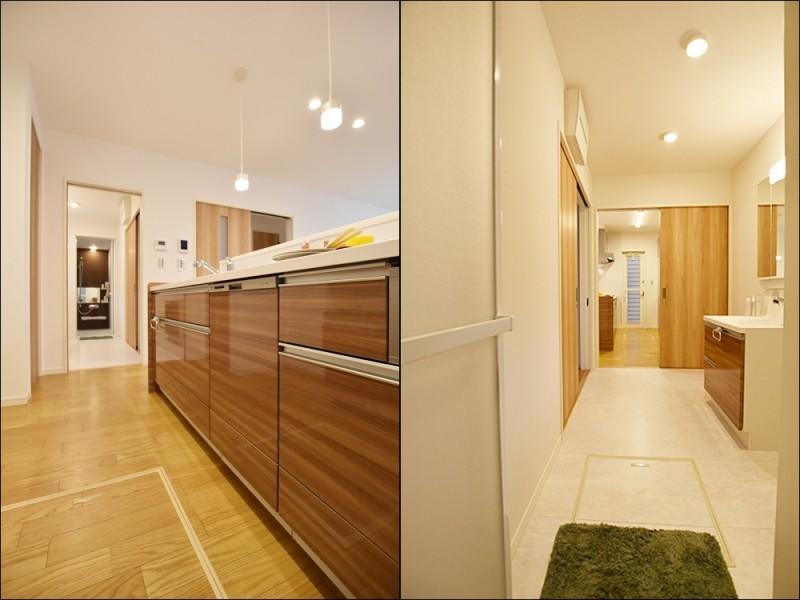 4号地家事動線:キッチンから洗面所・浴室が一直線になっている家事動線の良いプラン。家事の時短になります♪