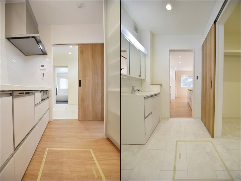 1号地家事動線:キッチンから洗面・浴室が一直線になっている家事動線の良いプラン♪家事の時短になります。