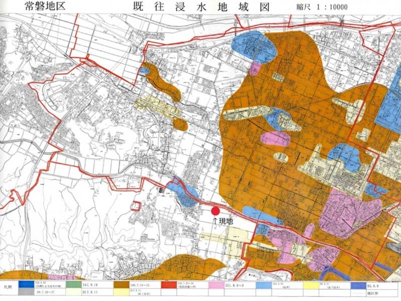 既往浸水地域図:物件のすぐ裏には鹿化川があります。少なくとも昭和34年以降は浸水したことがありません。(※四日市市防災情報より。)