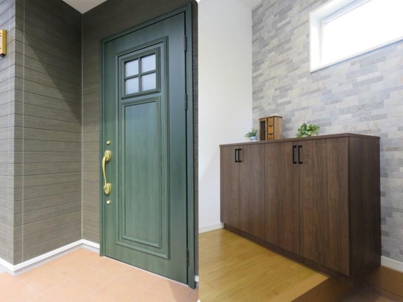 2号地玄関:一番来客の多い玄関だから、扉・照明・壁紙等、細部にもこだわりました。