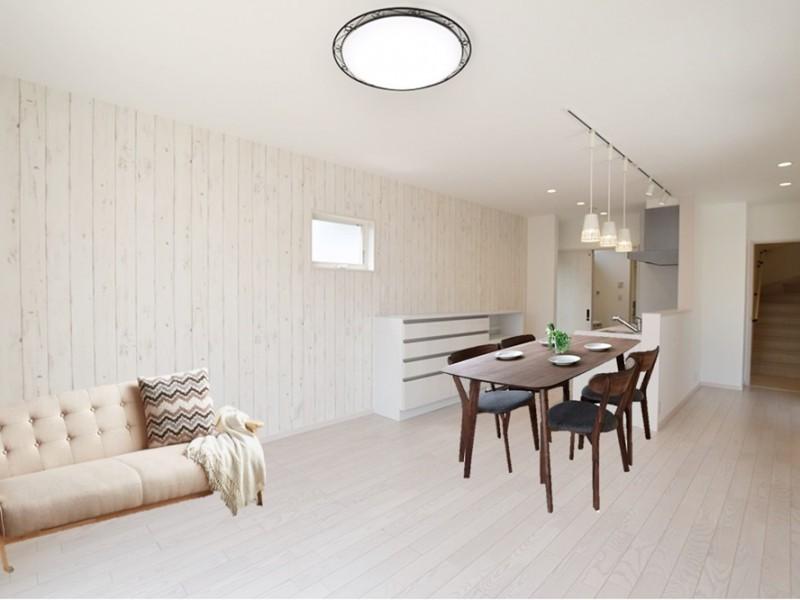2号地 白を基調としたリビングは清潔感のある日当たりもバッチリ (家具はイメージです)