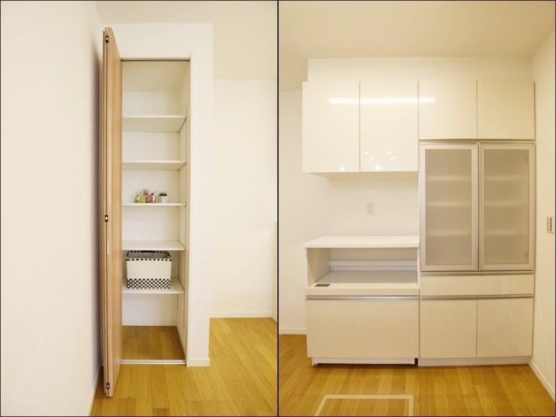 ①号地 キッチン収納 デッドスペースになりがちな天井付近にも収納を盛り込みました!