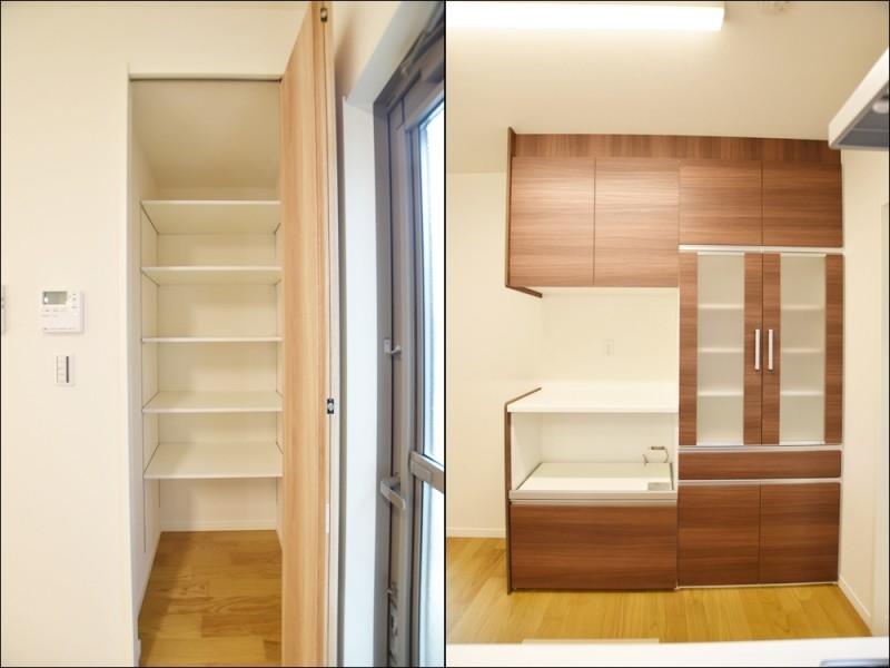 3号地キッチン収納:カップボードの他に可動棚を設けました。食器だけでなく、食料品等の買い置きもストック出来ます。