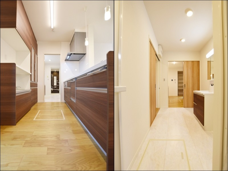 3号地家事動線:キッチン→洗面所→浴室と水回りが一直線になっている家事動線の良いプラン♪