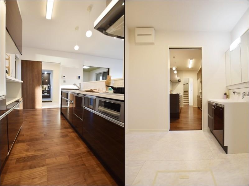 1号地 キッチン→洗面→浴室と水回りが一直線になっている家事動線の良いプラン♪