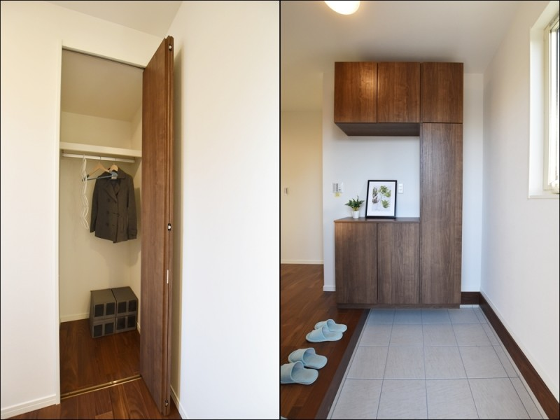 1号地 靴箱が備え付けてあるので、玄関をいつもキレイに保つことが出来ます。また、ハンガーパイプ付きの収納もあるので、コート等を掛けておくのに便利です。
