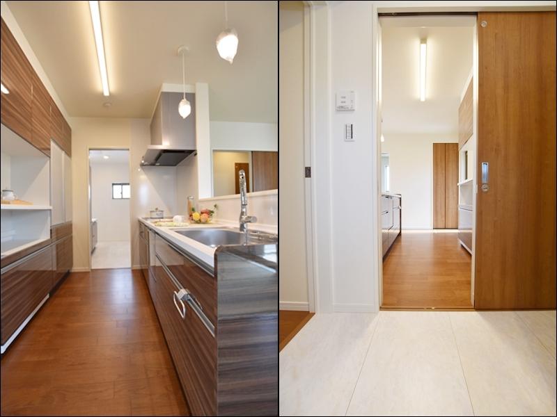 1号地 キッチンと洗面所が繋がっている、家事動線の良いプラン。家事の時短になります。