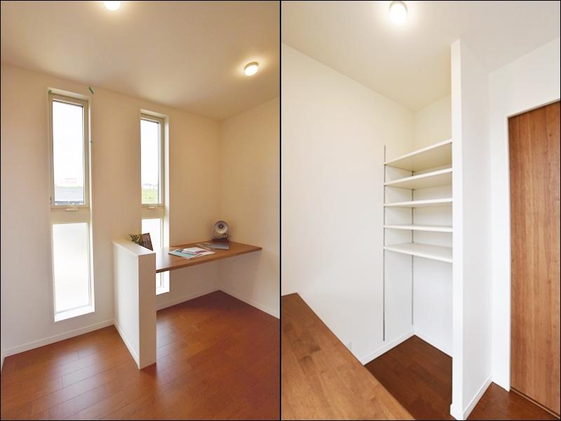 1号地ワークスペース:在宅勤務の方にオススメ!主寝室から繋がるワークスペースには、カウンターと可動棚を設けました。趣味のお部屋や収納スペースとしてもお使いいただけます。