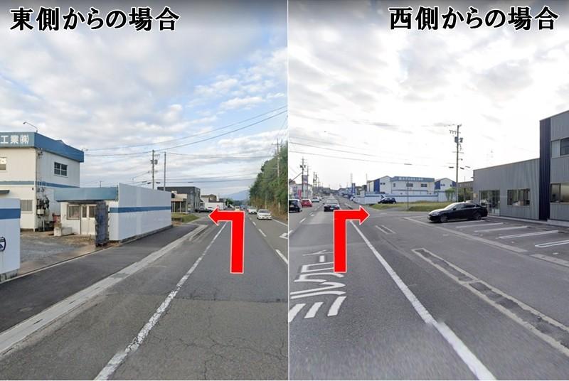 交差点:東側(ウエルシア側)から来られた場合と、西側(笹川ジャブ側)から来られた場合の交差点です。