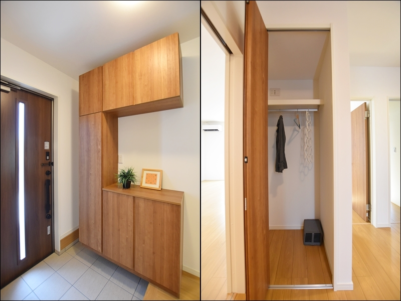 3号地玄関:靴箱が備え付けてあるので、玄関をいつもキレイに保つことが出来ます。また、正面に物入があるので、上着等を掛けておくと便利です。