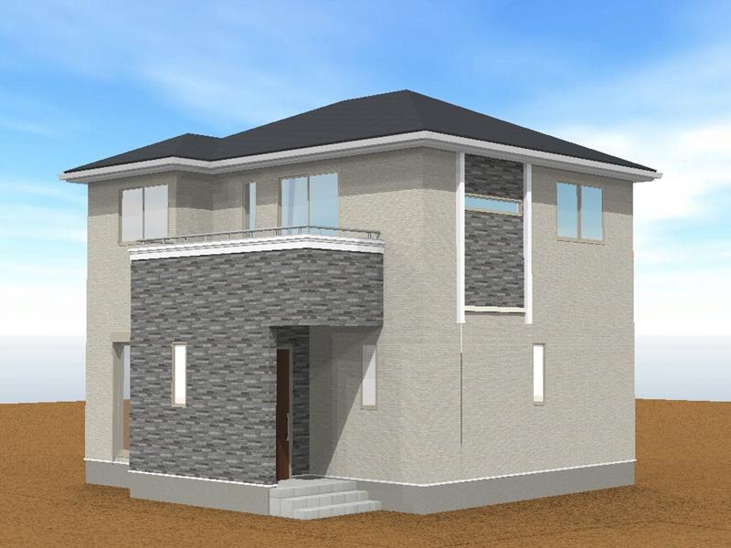 3号外観パース:石目調の外壁がアクセントの、シンプルモダンな外観。