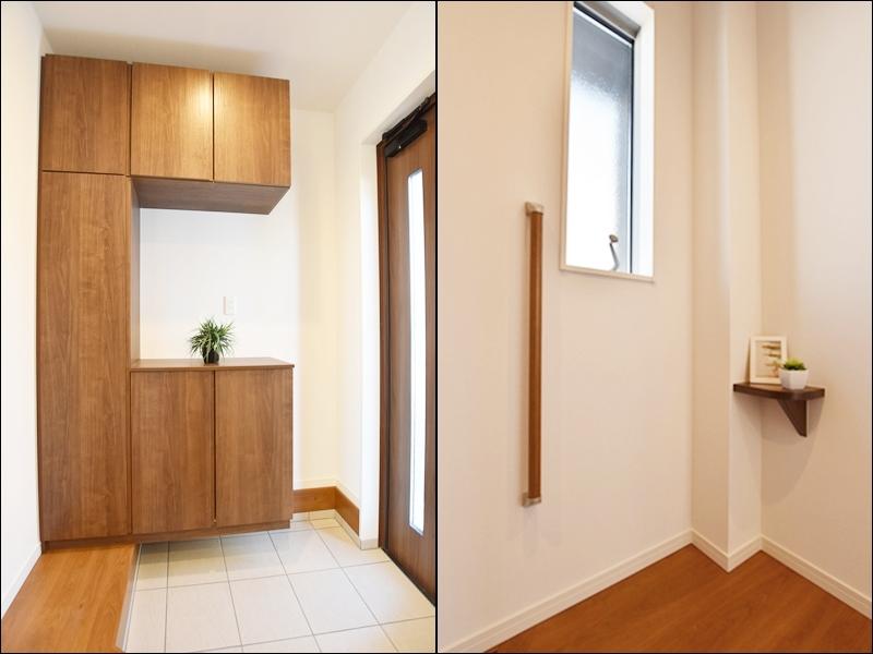 2号地玄関:玄関前に、小さな飾り棚を設けました。花や小物を飾ってインテリアを楽しめます♪